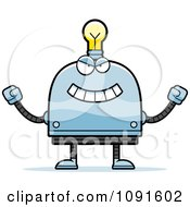 Clipart Evil Light Bulb Head Robot Royalty Free Vector Illustration by Cory Thoman