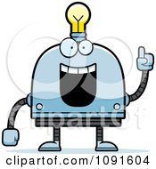 Clipart Creative Light Bulb Head Robot Royalty Free Vector Illustration