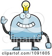 Clipart Waving Light Bulb Head Robot Royalty Free Vector Illustration
