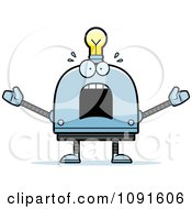 Clipart Scared Light Bulb Head Robot Royalty Free Vector Illustration by Cory Thoman
