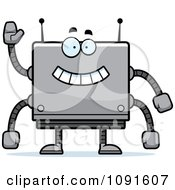 Clipart Waving Box Robot Royalty Free Vector Illustration by Cory Thoman