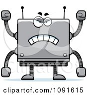 Clipart Mad Box Robot Royalty Free Vector Illustration by Cory Thoman