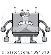 Clipart Sad Box Robot Royalty Free Vector Illustration by Cory Thoman