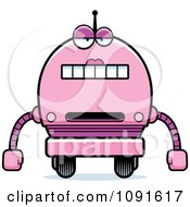 Clipart Bored Pink Robot Girl Royalty Free Vector Illustration