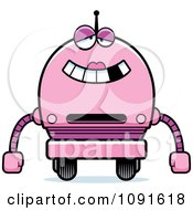Clipart Dumb Pink Robot Girl Royalty Free Vector Illustration