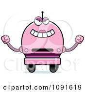 Clipart Evil Pink Robot Girl Royalty Free Vector Illustration