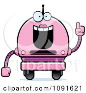 Clipart Smart Pink Robot Girl Royalty Free Vector Illustration