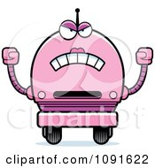 Clipart Mad Pink Robot Girl Royalty Free Vector Illustration