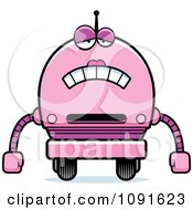 Clipart Sad Pink Robot Girl Royalty Free Vector Illustration
