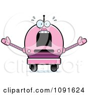 Clipart Scared Pink Robot Girl Royalty Free Vector Illustration