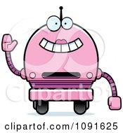 Clipart Waving Pink Robot Girl Royalty Free Vector Illustration