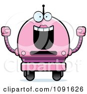 Clipart Cheering Pink Robot Girl Royalty Free Vector Illustration