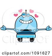 Clipart Loving Blue Robot Boy Royalty Free Vector Illustration
