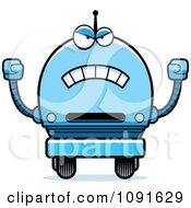 Clipart Mad Blue Robot Boy Royalty Free Vector Illustration
