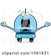 Clipart Scared Blue Robot Boy Royalty Free Vector Illustration
