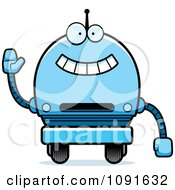 Clipart Waving Blue Robot Boy Royalty Free Vector Illustration by Cory Thoman