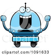 Clipart Cheering Blue Robot Boy Royalty Free Vector Illustration