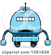 Clipart Bored Blue Robot Boy Royalty Free Vector Illustration