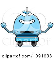 Clipart Evil Blue Robot Boy Royalty Free Vector Illustration by Cory Thoman
