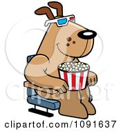 Dog Eating Popcorn And Watching A 3d Movie At The Theater