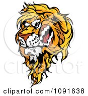 Clipart Snarling Male Lion Mascot Head Royalty Free Vector Illustration by Chromaco