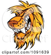 Clipart Vicious Male Lion Mascot Head Royalty Free Vector Illustration