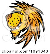 Clipart Male Lion Mascot Grinning In Profile Royalty Free Vector Illustration by Chromaco