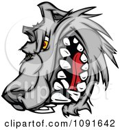 Clipart Snarling Wolf Mascot Head Royalty Free Vector Illustration by Chromaco