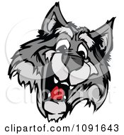 Clipart Happy Wolf Mascot Head Royalty Free Vector Illustration by Chromaco