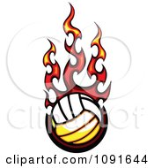 Clipart Hot Volleyball And Red Flames Royalty Free Vector Illustration by Chromaco