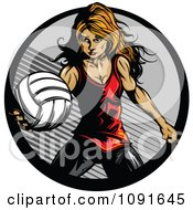 Strong Female Volleyball Player Preparing To Serve
