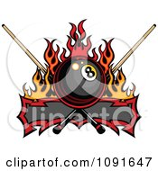 Flaming Billiards Eight Ball Banner With Que Sticks