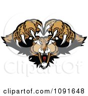 Clipart Couger Mascot Pouncing Royalty Free Vector Illustration