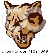 Clipart Growling Cougar Mascot Head Royalty Free Vector Illustration by Chromaco