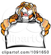 Clipart Friendly Tiger Mascot Holding A Sign Royalty Free Vector Illustration