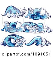 Clipart Blue Ocean Wave Borders And Design Elements Royalty Free Vector Illustration by Chromaco #COLLC1091651-0173