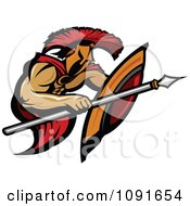 Clipart Spearing Spartan Warrior Royalty Free Vector Illustration by Chromaco