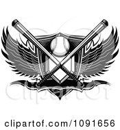 Black And White Baseball Plate Crossed Bats Shield Banner And Wings