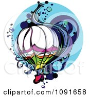 Clipart Colorful Hot Air Balloon With Wind And Bubbles Over Blue Royalty Free Vector Illustration