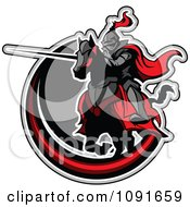 Clipart Jousting Knight Pointing His Lance Over A Gray And Red Circle Royalty Free Vector Illustration