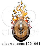 Clipart Leather Football And Flames Royalty Free Vector Illustration