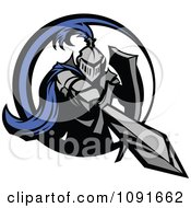 Clipart Blue And Gray Knight Stabbing With A Sword Royalty Free Vector Illustration