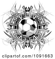 Clipart Soccer Ball Over A Tribal Circle Royalty Free Vector Illustration by Chromaco