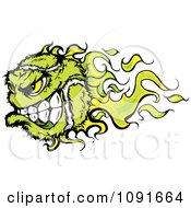 Clipart Green Flaming Tennis Ball Character Royalty Free Vector Illustration by Chromaco