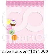 Clipart Decorated Cake Pops And Pink Scallops With Copyspace Royalty Free Vector Illustration by Maria Bell