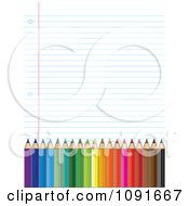 Ruled School Paper Background With Colored Pencils