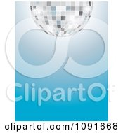 Clipart Half Silver Disco Ball Over A Gradient Blue Background Royalty Free Vector Illustration