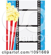 Movie Film Strip With Buttered Popcorn And Blue Stars