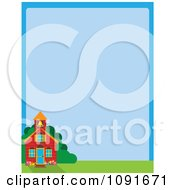 Clipart School House And Blue Background With Copyspace Royalty Free Vector Illustration