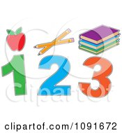 Clipart Red Apple Pencils Books And 1 2 3 Royalty Free Vector Illustration